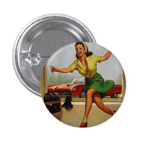 Vintage Retro Gil Elvgren Bowling pinup girl Pinback Buttons