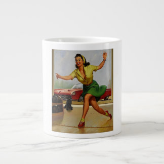 Vintage Retro Gil Elvgren Bowling pinup girl Extra Large Mug