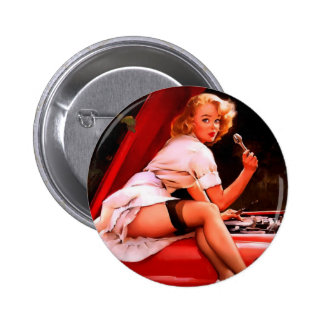 Vintage Retro Gil Elvgren Car Mechanic Pinup Girl 2 Inch Round Button