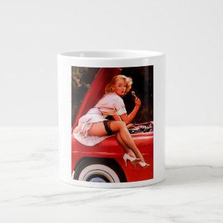Vintage Retro Gil Elvgren Car Mechanic Pinup Girl Jumbo Mug