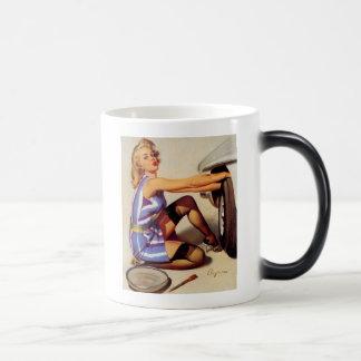 Vintage Retro Gil Elvgren Car Mechanic Pinup Girl 11 Oz Magic Heat Color-Changing Coffee Mug