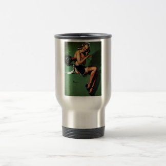 Vintage Retro Gil Elvgren French Maid Pinup Girl 15 Oz Stainless Steel Travel Mug