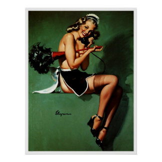 Vintage Retro Gil Elvgren French Maid Pinup Girl Poster