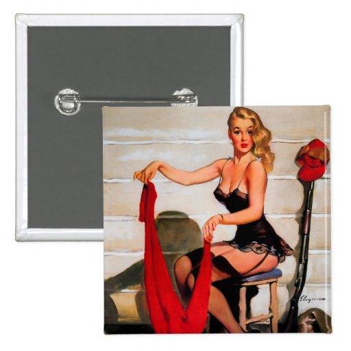 Vintage Retro Gil Elvgren Hunter Pinup Girl Pins