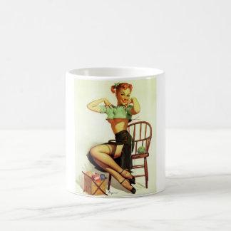 Vintage retro Gil Elvgren Knitting Pin Up Girl Basic White Mug