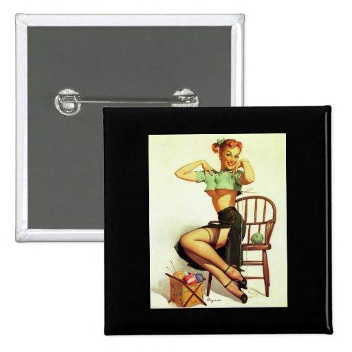 Vintage retro Gil Elvgren Knitting Pin Up Girl