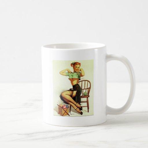 Vintage retro Gil Elvgren Knitting Pin Up Girl Mug