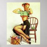 Vintage retro Gil Elvgren Knitting Pin Up Girl Posters