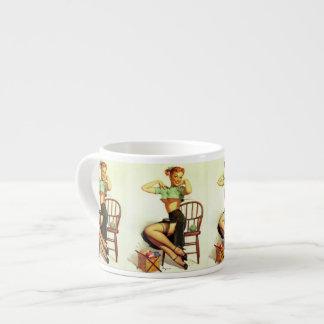 Vintage retro Gil Elvgren Knitting Pin Up Girl Espresso Mugs