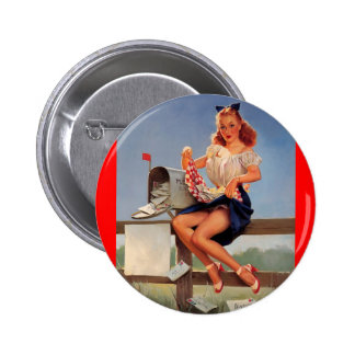 Vintage Retro Gil Elvgren Mail Box Pinup Girl 2 Inch Round Button