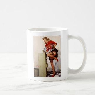 Vintage Retro Gil Elvgren Office Pinup Girl Basic White Mug