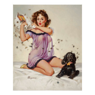 Vintage Retro Gil Elvgren Pillow Fight  Pinup Girl Poster