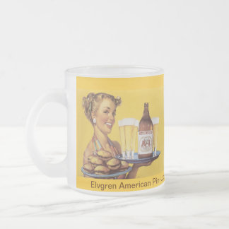 Vintage Retro Gil Elvgren Pin Up Girl Frosted Glass Mug