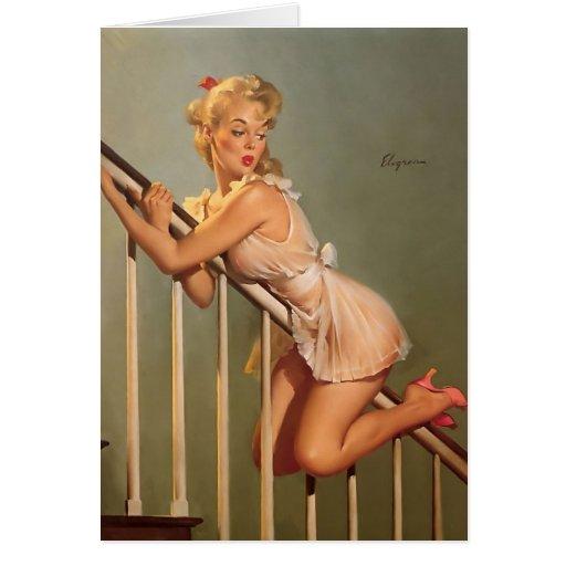 Vintage Retro Gil Elvgren Pin Up Girl Greeting Card