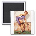 Vintage Retro Gil Elvgren Pin Up Girl Square Magnet
