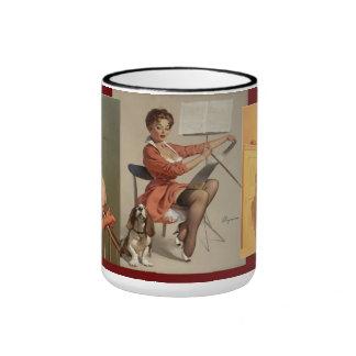 Vintage Retro Gil Elvgren Pin Up Girl Ringer Mug
