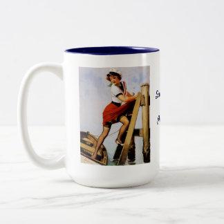 Vintage Retro Gil Elvgren Sailor Pin-up Girl Two-Tone Mug