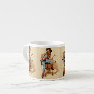 Vintage Retro Gil Elvgren Sheriff Pin Up Girl Espresso Mug