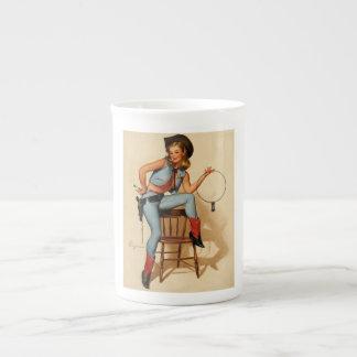 Vintage Retro Gil Elvgren Sheriff Pin Up Girl Porcelain Mug