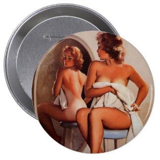 Vintage Retro Gil Elvgren Sun Tan Pinup girl 4 Inch Round Button