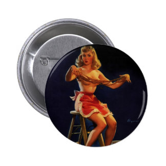 Vintage Retro Gil Elvgren Taffy maker Pinup girl Buttons