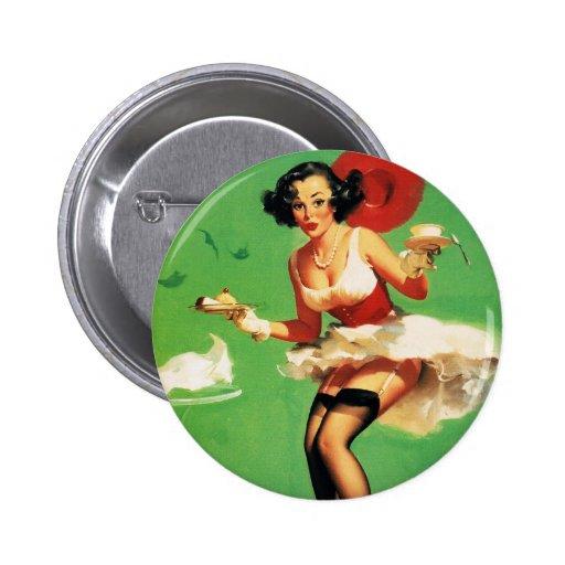 Vintage Retro Gil Elvgren Tea Time Pinup Girl Pin