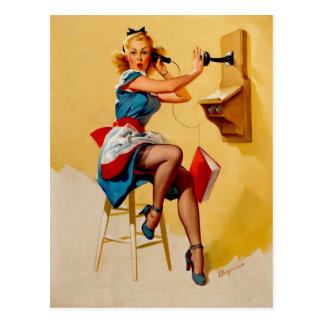 Vintage Retro Gil Elvgren telephone pin up Girl Postcard