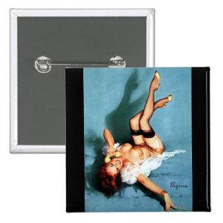 Vintage Retro Gil Elvgren Telephone Pinup girl 2 Inch Square Button
