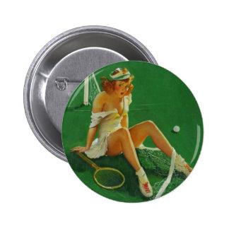 Vintage Retro Gil Elvgren Tennis Pinup Girl 2 Inch Round Button