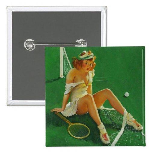 Vintage Retro Gil Elvgren Tennis Pinup Girl Button