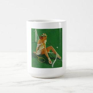 Vintage Retro Gil Elvgren Tennis Pinup Girl Classic White Coffee Mug