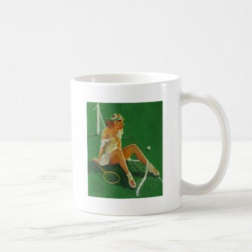 Vintage Retro Gil Elvgren Tennis Pinup Girl Coffee Mugs