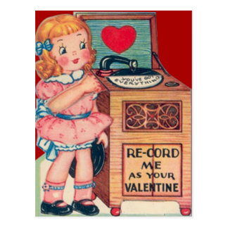 Vintage Retro Girl Record Player Valentine Card