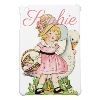Vintage/Retro Girl with a Goose Personnalised iPad Mini Cover