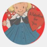 Vintage Retro Girl With Heart Valentine Card Sticker
