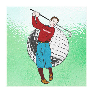 Vintage Retro Golf Player With Golf Club And Ball Canvas Print