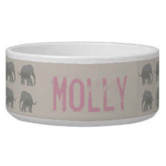 Vintage Retro Gray and Pink Pet Name Elephants