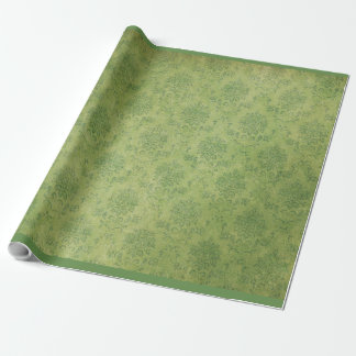 Vintage Retro Green Damask Pattern Wrapping Paper