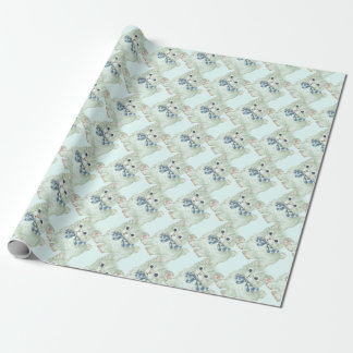 Vintage/Retro Green Kitten Wrapping Paper