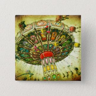Vintage retro green sky carnival swing ride photo 2 inch square button