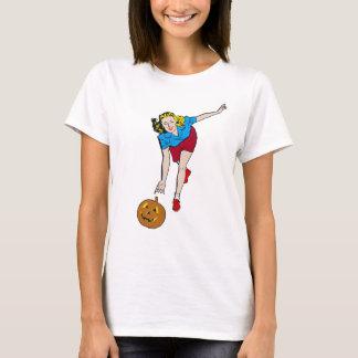 Vintage Retro Halloween Pumpkin Bowling Girl T-Shirt