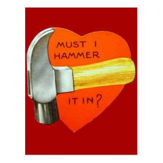 Vintage Retro Hammer Valentine Card Postcard