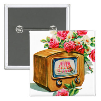 Vintage Retro Happy Birthday Birthday Cake TV Set 2 Inch Square Button