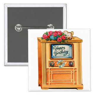 Vintage Retro Happy Birthday TV Television Set 2 Inch Square Button