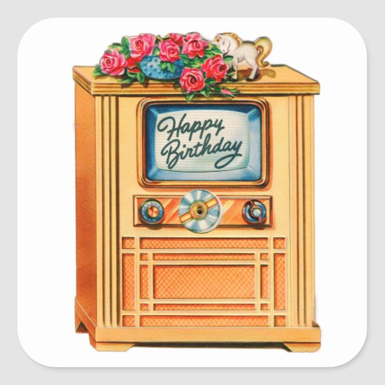 Vintage Retro Happy Birthday TV Television Set Square Sticker