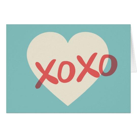 Vintage Retro Heart XOXO Valentine's Day Card