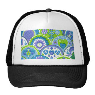 Vintage Retro Hearts and Flowers Trucker Hat