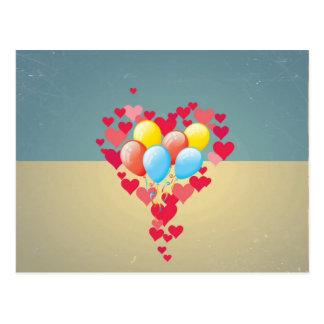 Vintage Retro Hearts Balloons Turquoise Blue Cream Postcard