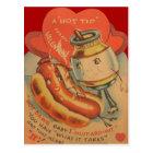 Vintage Retro Hot Dog Mustard Valentine Card