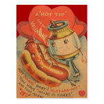 Vintage Retro Hot Dog Mustard Valentine Card Postcard